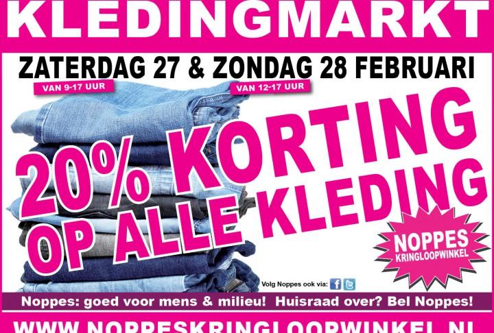 20% korting bij de Noppes kledingmarkt